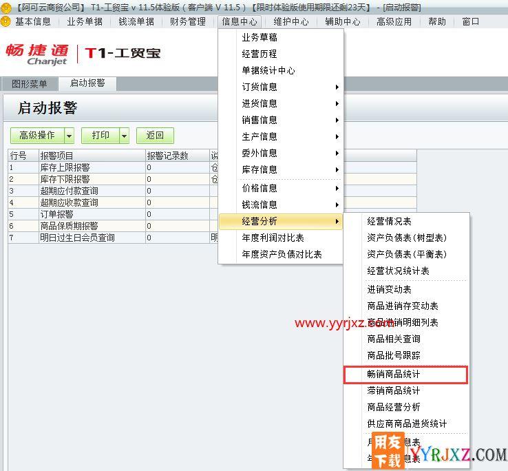 用友t1工贸宝进销存软件怎么查询那些商品畅销的图文操作教程